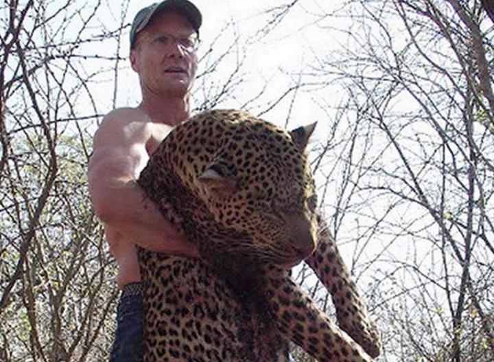 Walter Palmer après avoir tué un léopard. Source: Trophy Hunt America